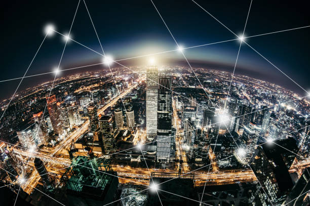 planet smart city at night - smart city stock photos and pictures