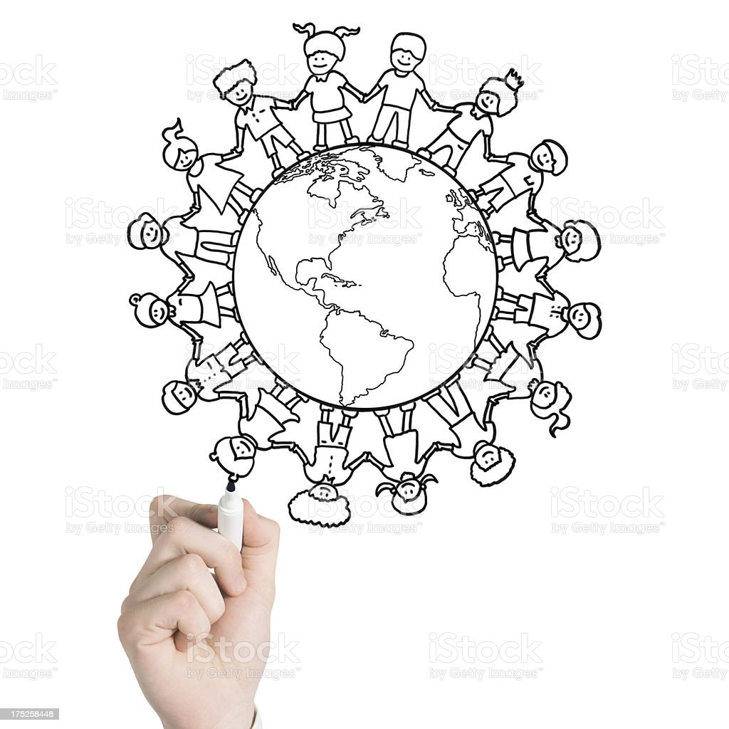 Planet with Boys and Girls royalty-free stock photo
