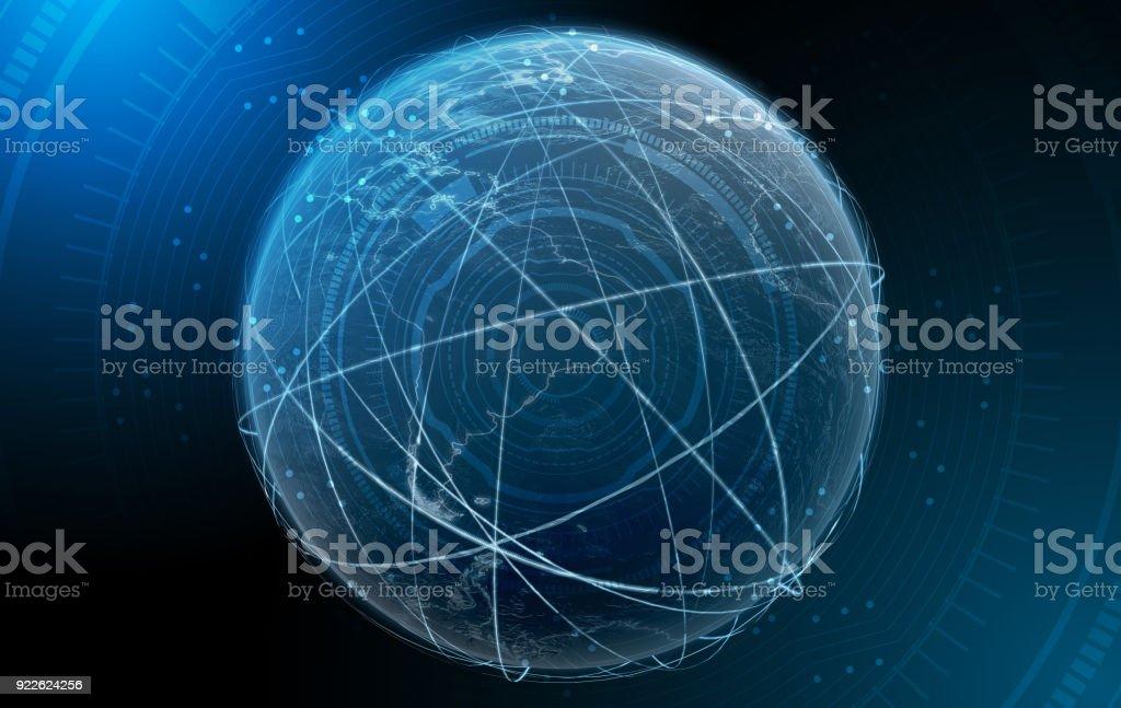 Planet With Illuminated Light Trails stock photo