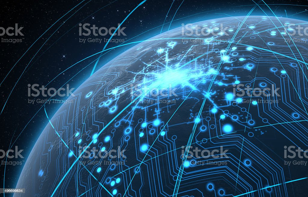 Planet With Illuminated Network And Light Trails stock photo
