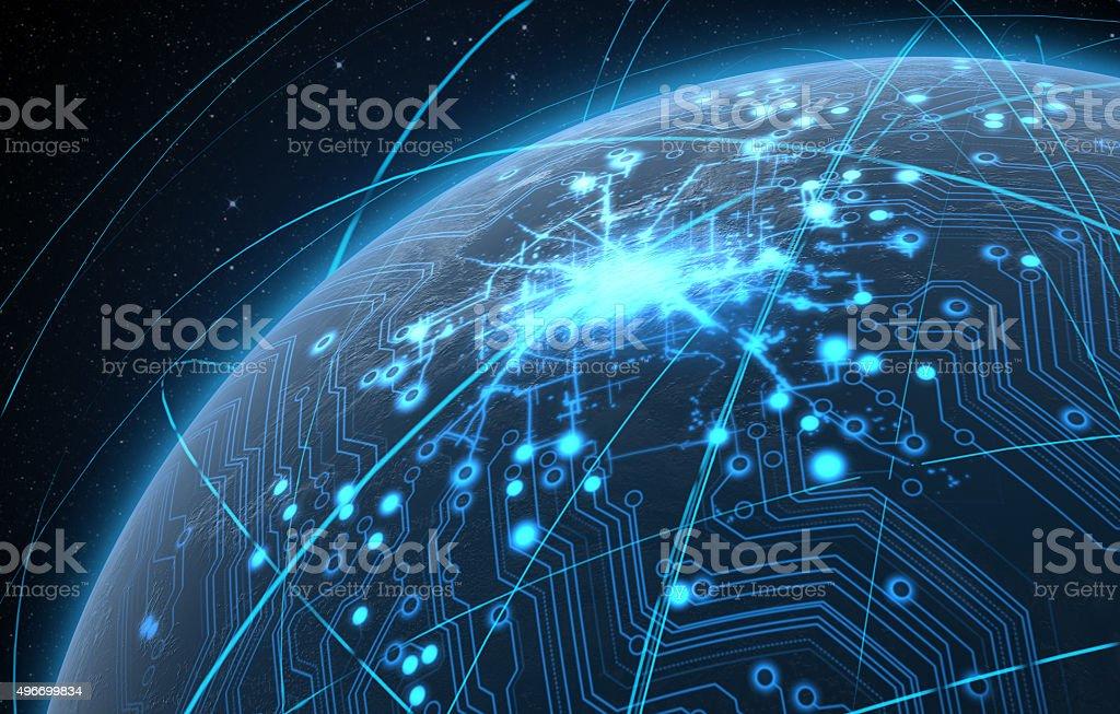 Planeta con iluminación de red y senderos de luz - foto de stock