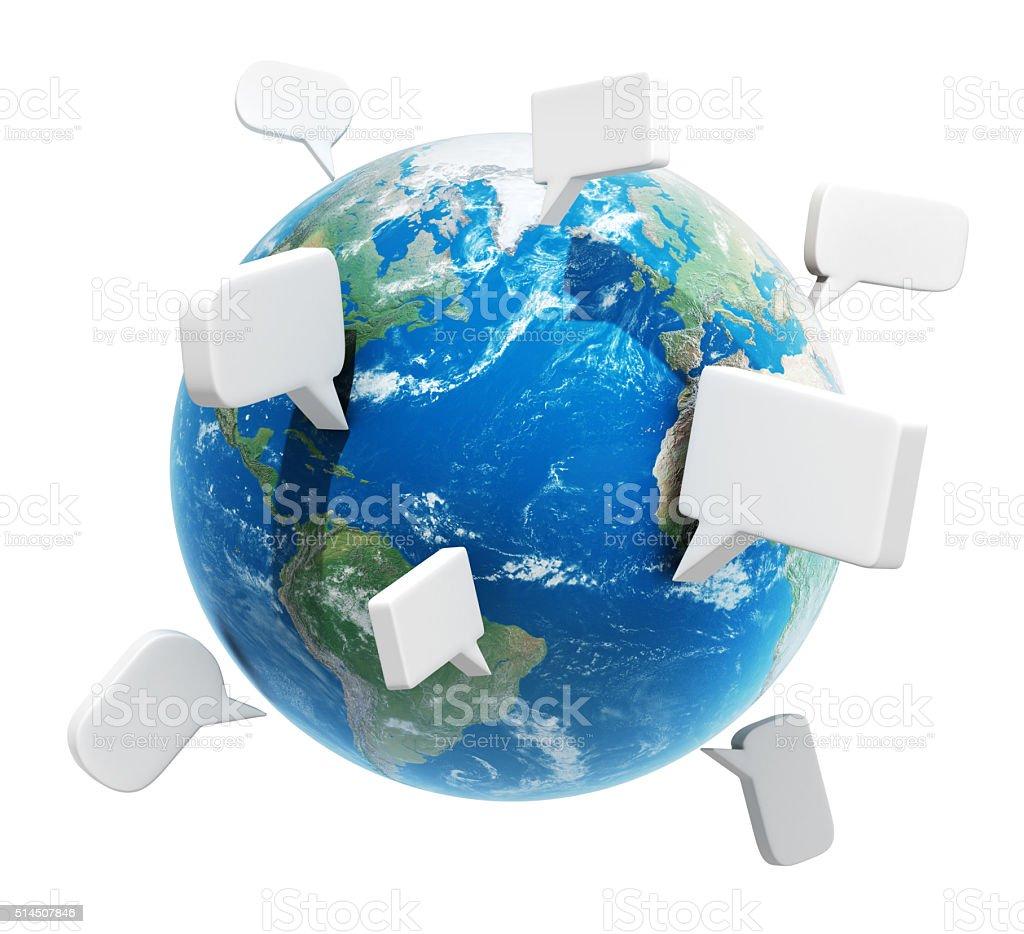 Planet with speech bubbles, communication concept stock photo