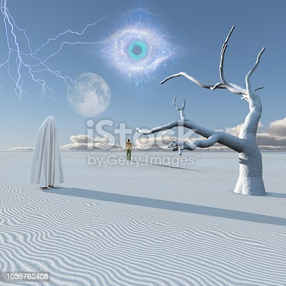 Figure in white hijab stands in surreal white desert. Lonely man in a distance.