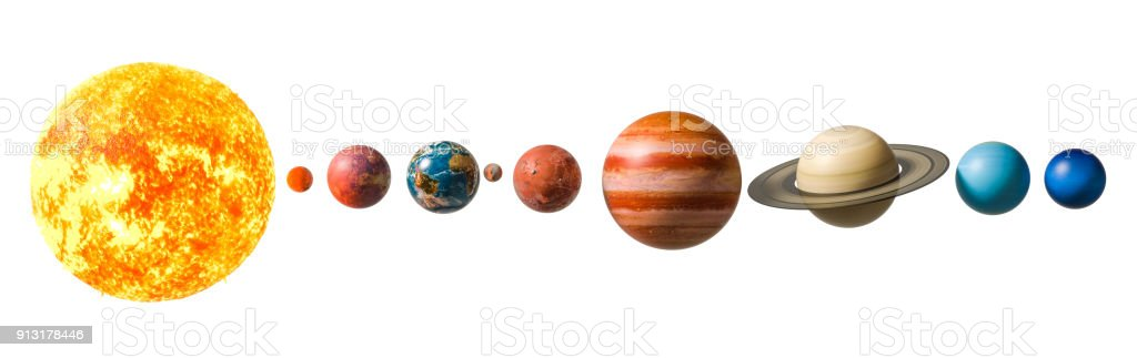 Planets of the solar system, 3D rendering isolated on white background. stock photo