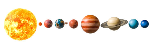 Planets of the solar system, 3D rendering isolated on white background. - foto stock