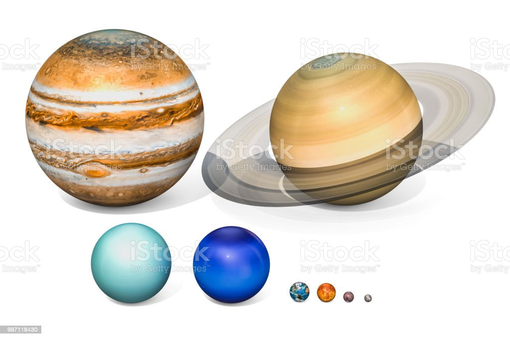 Planets of the solar system. Jupiter, Saturn, Uranus, Neptuno, Earth, Venus, Mars, Mercury. 3D rendering isolated on white background. stock photo