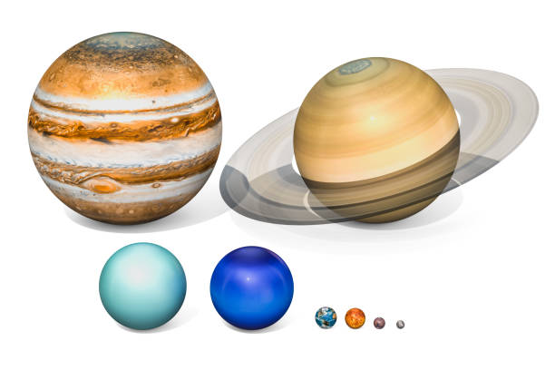 Planets of the solar system. Jupiter, Saturn, Uranus, Neptuno, Earth, Venus, Mars, Mercury. 3D rendering isolated on white background. stock photo