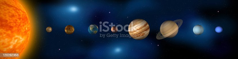Panoramic depiction of our Solar System and each of the eight planets. From left to right; Sun, Mercury, Venus, Earth, Mars, Jupiter, Saturn, Uranus, Neptune. Artistic license was taken with the sizing of the planets as they relate to each other and the overall composition of the piece.
