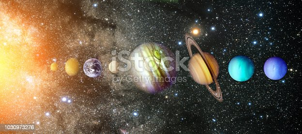 istock Planets of the solar system. Sun, Mercury, Venus, Earth, Mars, Jupiter, Saturn, Uranus, Neptune 1030973276