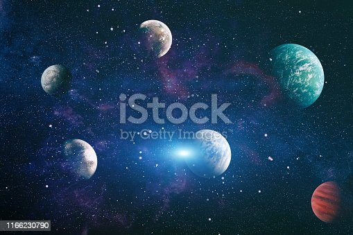 istock planets, stars and galaxies in outer space showing the beauty of space exploration. Elements furnished by NASA 1166230790