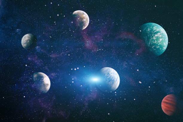 uzaylarda yer keşfi güzelliğini gösteren gezegenler, yıldızlar ve galaksiler. NASA tarafından döşenmiş elemanlar stok fotoğrafı