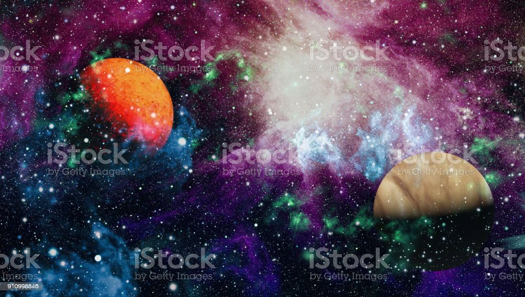 planets, stars and galaxies in outer space showing the beauty of space exploration. Elements furnished by NASA stock photo