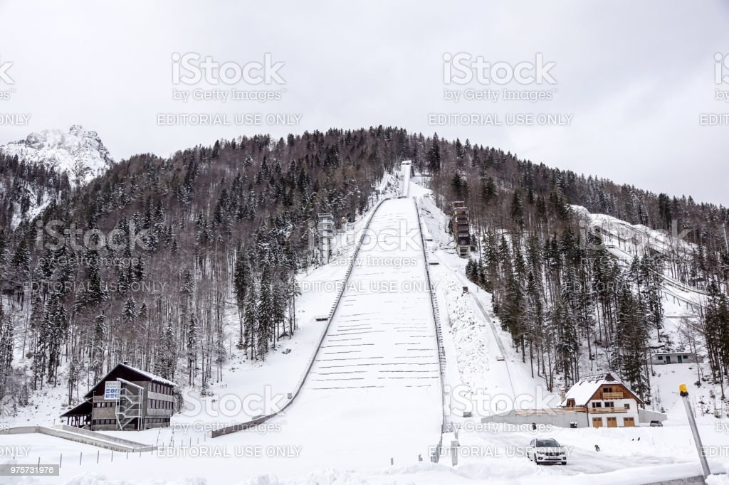 Planica, Slovenia - October 18, 2017 - the construction of Planica Nordic center with ski jumping hills. Planica is famous ski jumping venue with Flying hill of Gori ek brothers . - foto stock