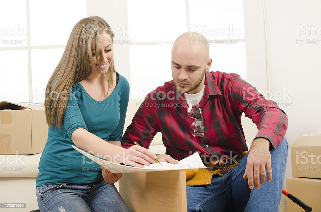Planing home improvement royalty-free stock photo