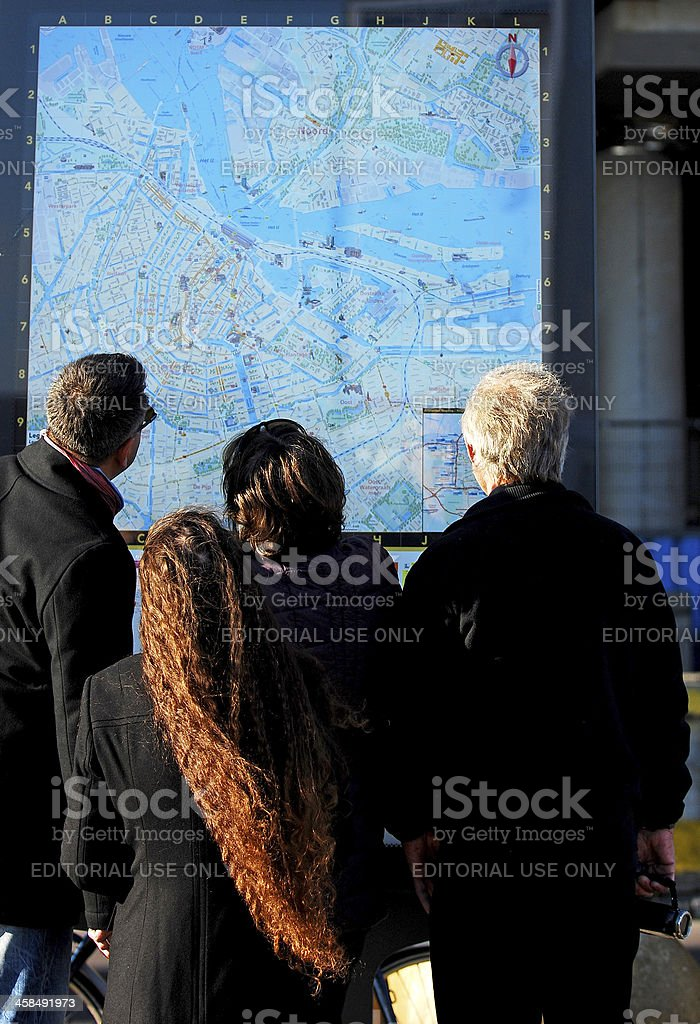 Planing with maps. stock photo