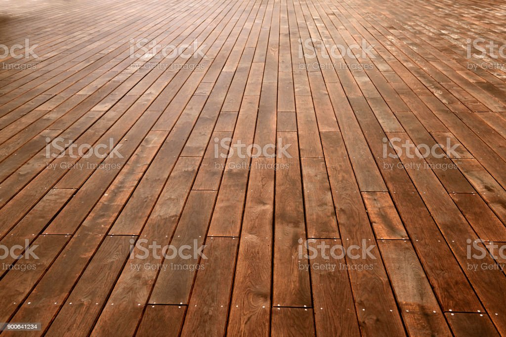 Plank flooring on pier stock photo
