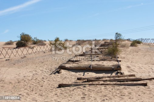 What remains of the plank road that stretched 7 miles across the Imperial Sand Dunes in California (near the Arizona border), as the only means for cars to cross the shifting sands from 1914 to 1927.