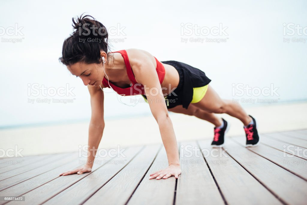 Plank variations exercises outdoors stock photo