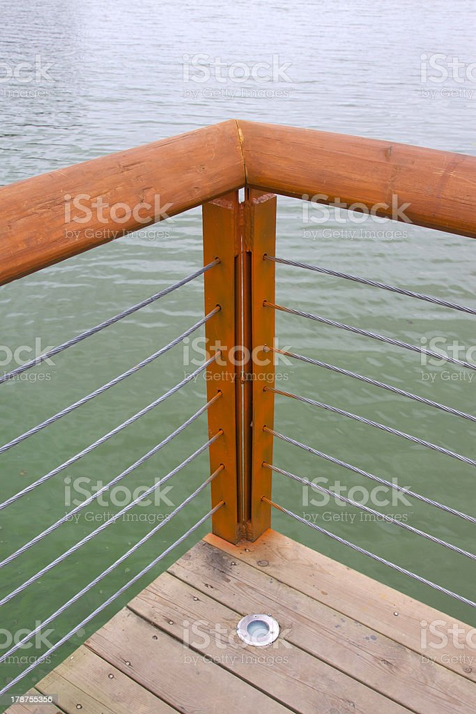 plank wood railings in a park, China stock photo