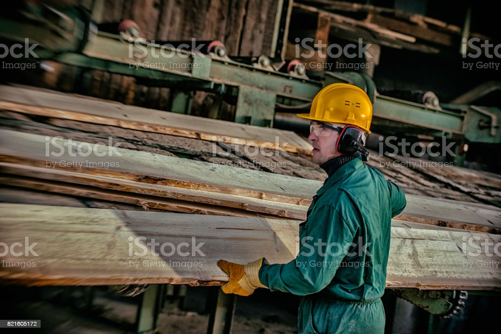 Planks in a sawmill stock photo