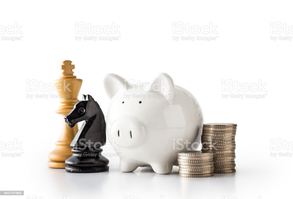 Planned investment with Piggy Bank stock photo
