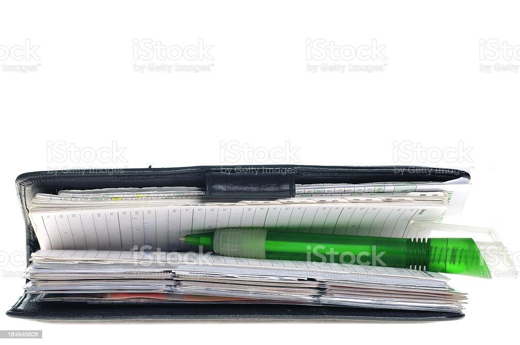 Planejador com caneta - foto de acervo