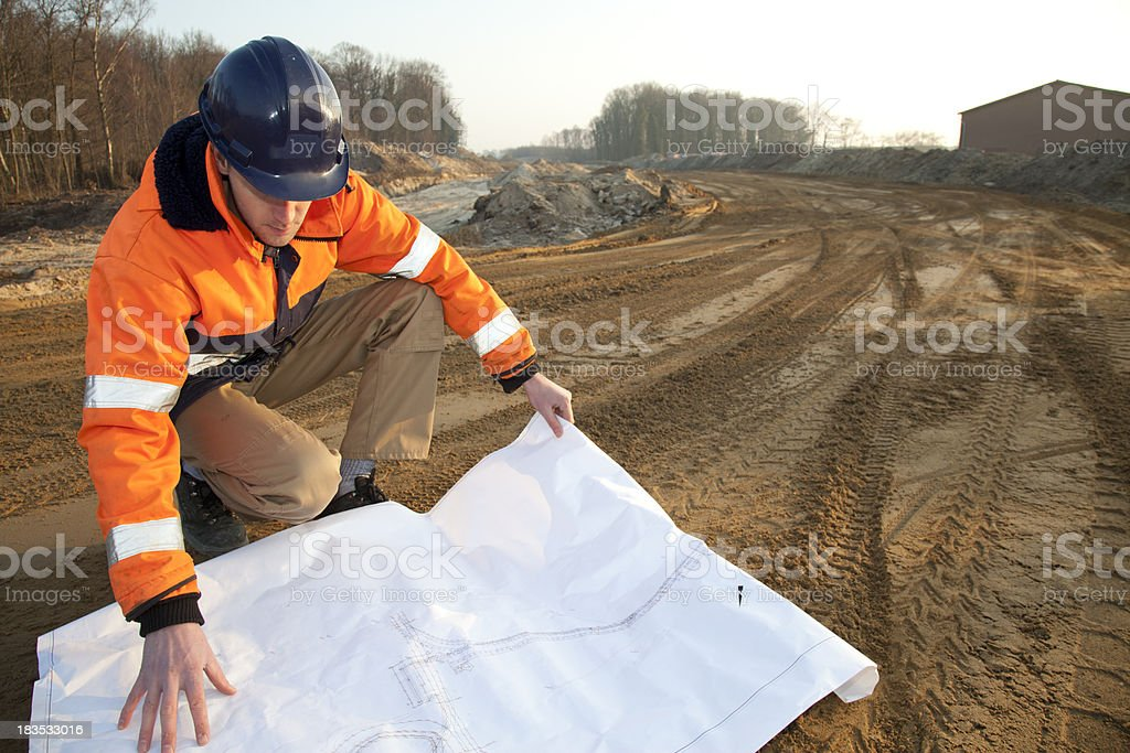 Planning a new road. stock photo
