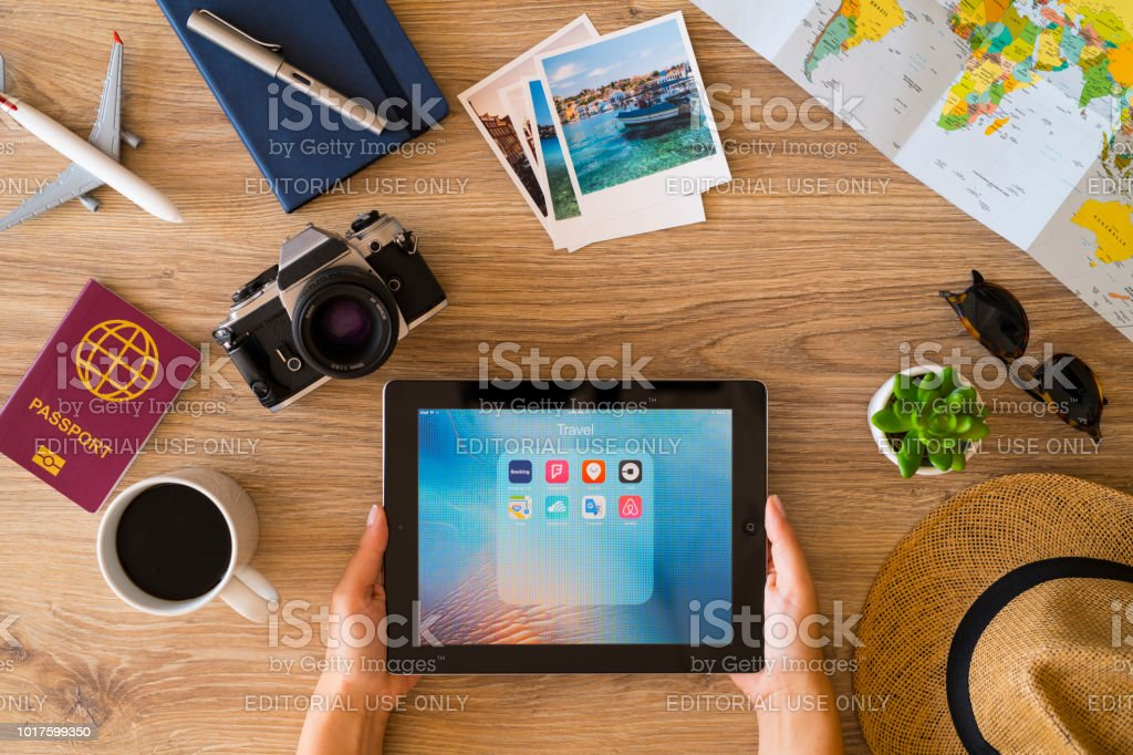 Planning a travel with iPad stock photo