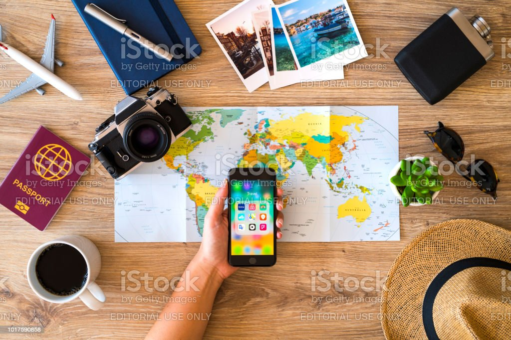 Planning a travel with iPhone stock photo