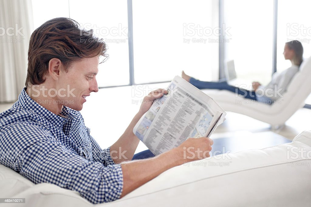 Planning for a lazy day at home stock photo