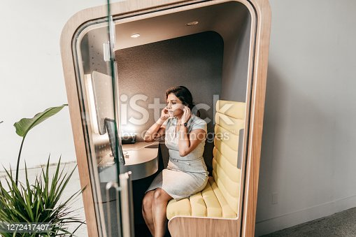 Planning for a new world. Multiethnic woman on her video chat with online  team