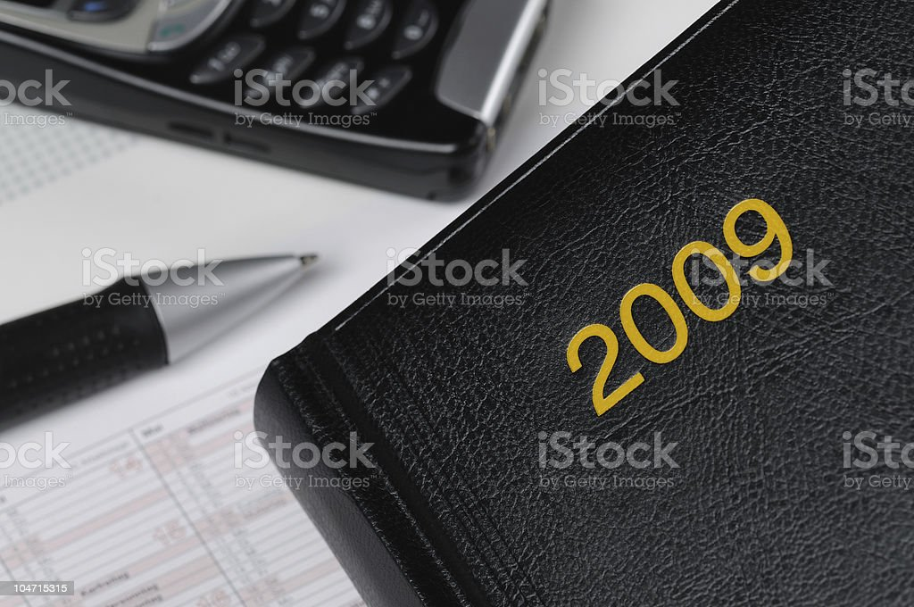 Planning for Year 2009 Calendar Book stock photo