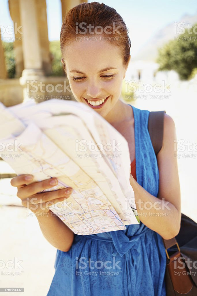Planning her route for a day of adventure! royalty-free stock photo