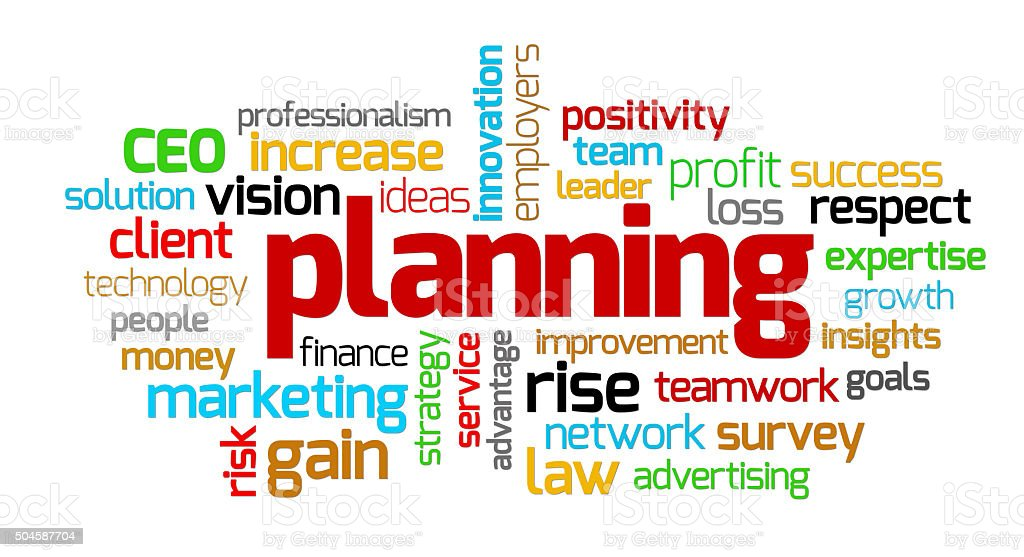 Planning keywords stock photo