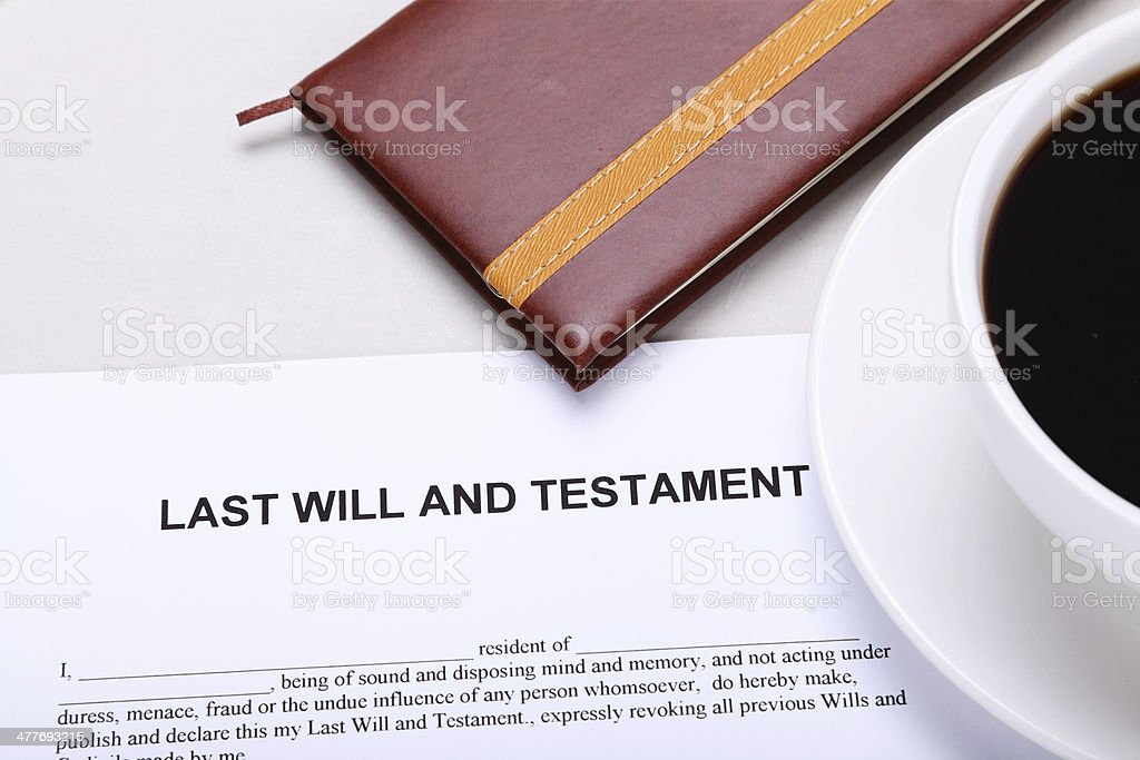 Planning Last Will and Testament stock photo