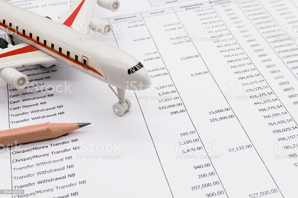 Planning monthly budget, Finance about Travel concept stock photo