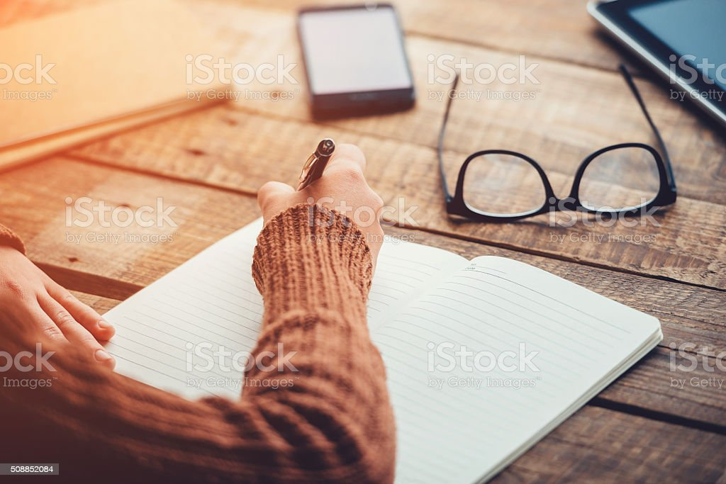 Planning new day. stock photo