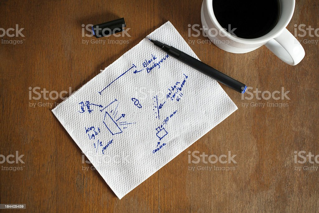 Planning notes on a napkin next to coffee stock photo