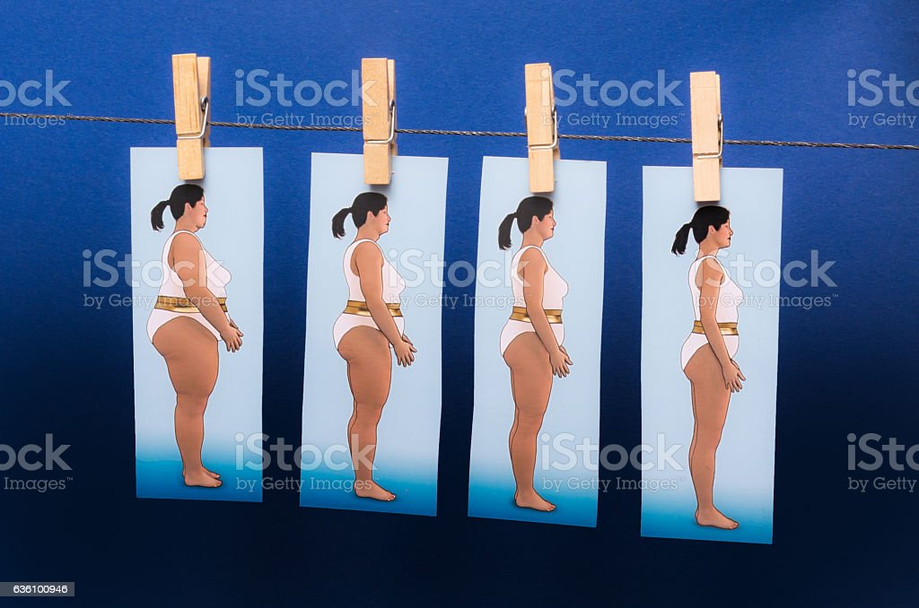 Planning on the line Losing weight  in 4 steps stock photo