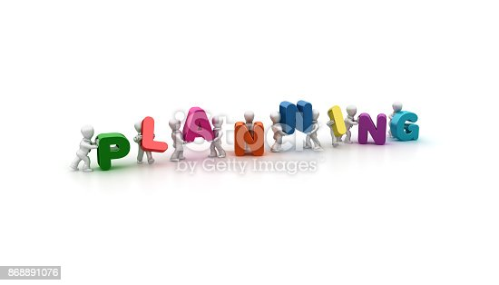 istock Planning People Carrying Team Word- 3D Rendering 868891076