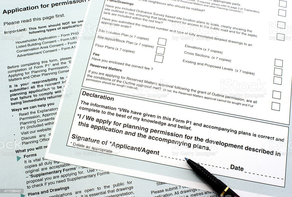 Planning permission form stock photo