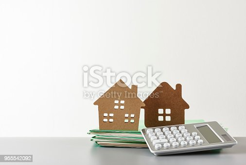 House purchase and Office supply. With copy space.
