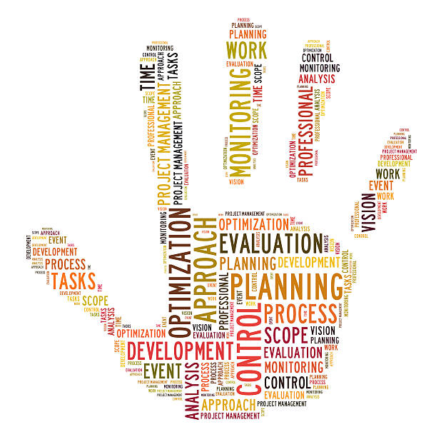 Planning process word cloud stock photo