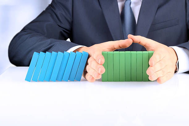 Planning, risk and strategy in business. The Effect Of Domino stock photo