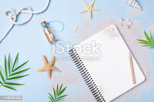 936373320 istock photo Planning summer holidays, tourism and vacation background. Travelers notebook with accessories top view. 1148761250