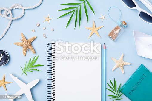 941183588 istock photo Planning summer holidays, trip and vacation background. Travelers notebook with accessories top view and flat lay. 1148760712