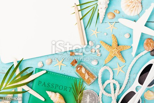 936373320 istock photo Planning summer holidays, trip and vacation background. Travelers notebook with accessories on blue table top view. Flat lay. 1153216003