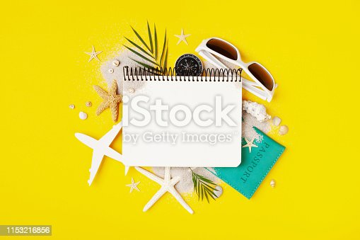 936373320 istock photo Planning summer holidays, trip and vacation background. Travelers notebook with accessories on fashion yellow table top view. 1153216856
