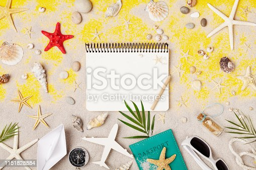 941183588 istock photo Planning summer holidays, trip and vacation. Travelers notebook with accessories on tropic sand background top view. 1151828884