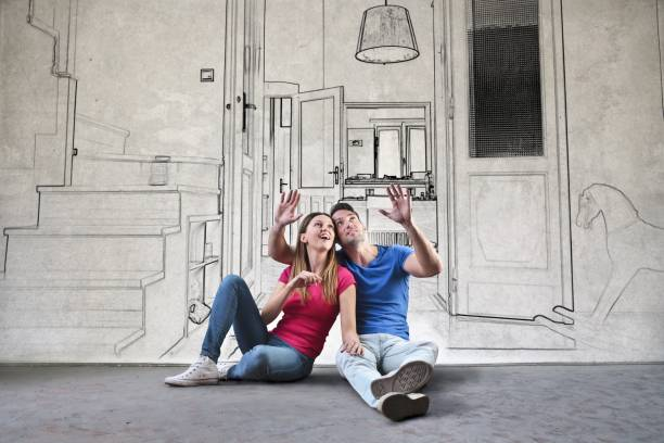 planning the dream home - day dreaming stock photos and pictures